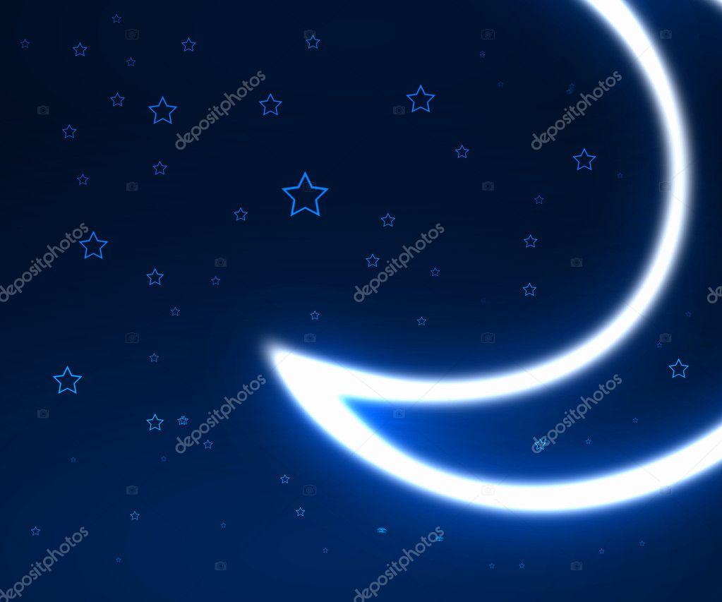 星星和月亮的夜晚天空背景
