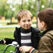 Boy on a bicycle in the green park — Stock Photo #7928282