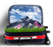 Red suitcase with snowy mountains inside — Stock Photo