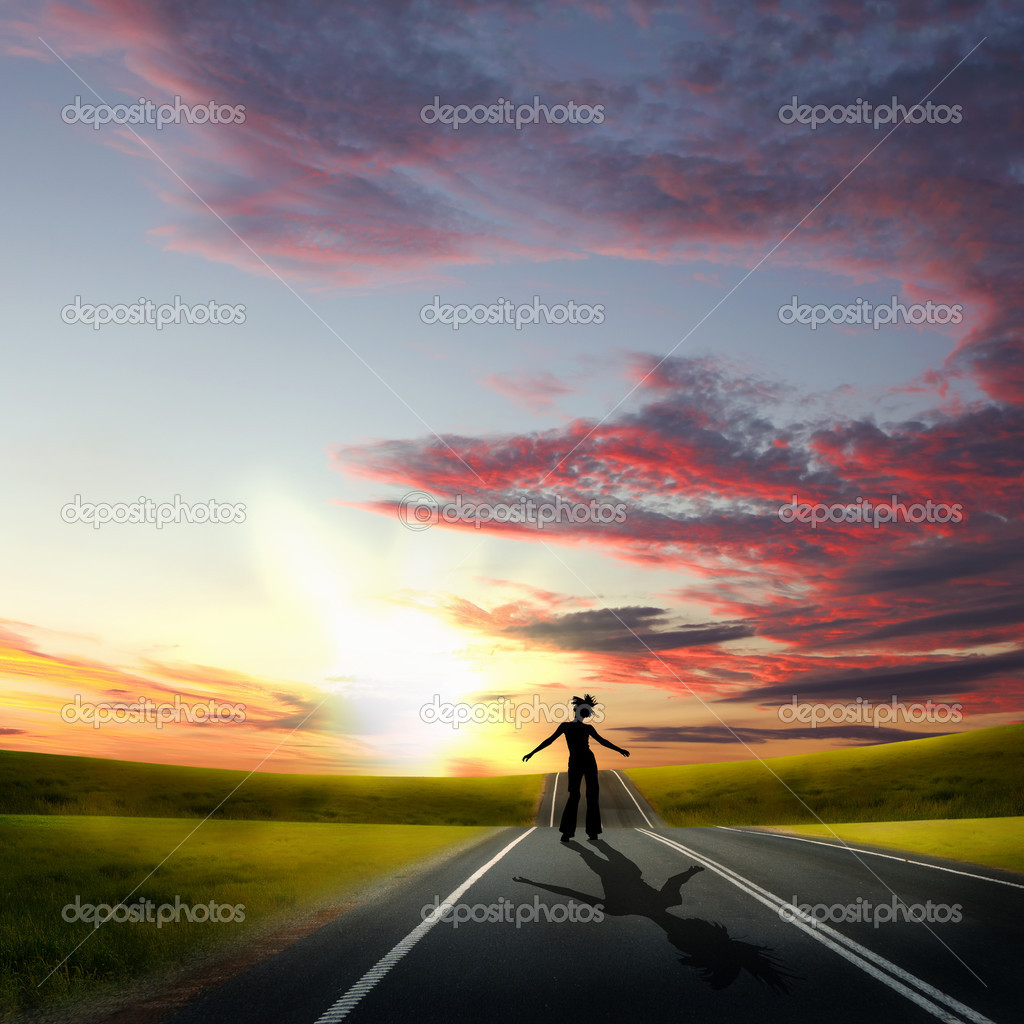 Collage with a human figure walking away along the coubtry road — Stock Photo #7946549