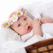 Portrait of a baby girl with a wreath of flowers — Stock Photo