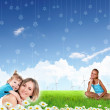 Collage with children and parents on green grass - Stock fotografie