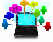 Bärbar dator med symboler kommunikation — Stockfoto