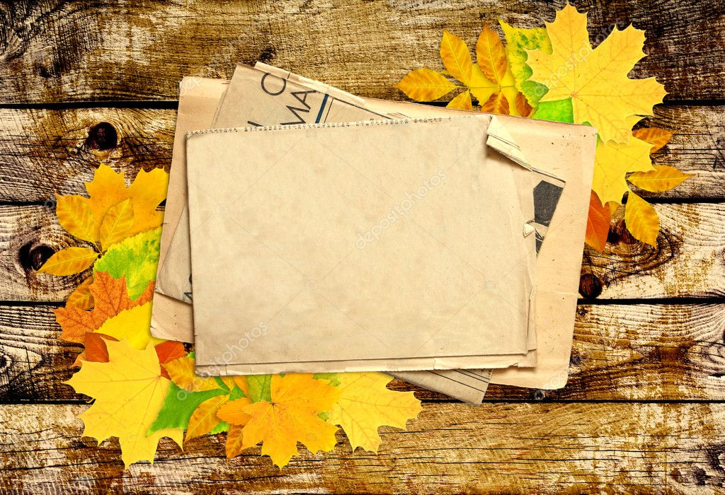 Grunge background from bright autumn leaves and old paper  Stock Photo #6765302