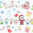 Vector sketchs - Santa Claus and children - Vettoriali Stock