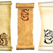Stock Photo: Dragons. Scrolls of old parchments