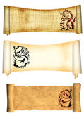 Dragons. Scrolls of old parchments — Stock Photo