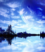 Landscape in fantasy planet — Stock Photo