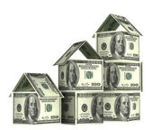 Houses from dollars banknotes — Stock Photo