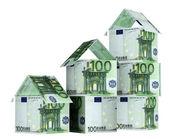 Domy z banknotów euro — Zdjęcie stockowe