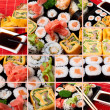 Collage of several photos japanese sushi — Stock Photo