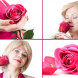 Stock Photo: Portraits of beautiful young womwith rose