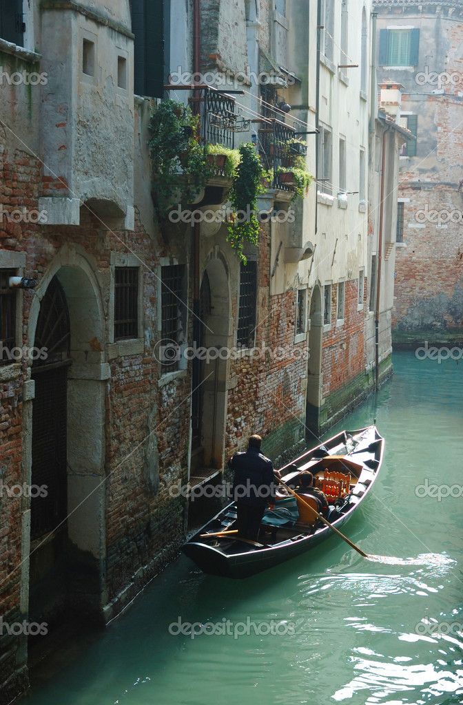 Gondolas at Venice canal,Italy — Stock Photo #7098645