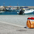 Summer beach bag at greek marina,Leonidio,Greece — Stock Photo