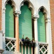 Stock Photo: Old green lancet Venetiwindow,Italy