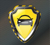 Protection shield with car icon — Vecteur
