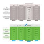 Vector Price Table Templates — Stock Vector