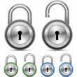 Vector Metallic Padlock — Stock Vector