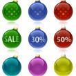 Christmas balls with sale tags — Image vectorielle