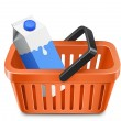 Shopping cart with a milk carton - Imagen vectorial