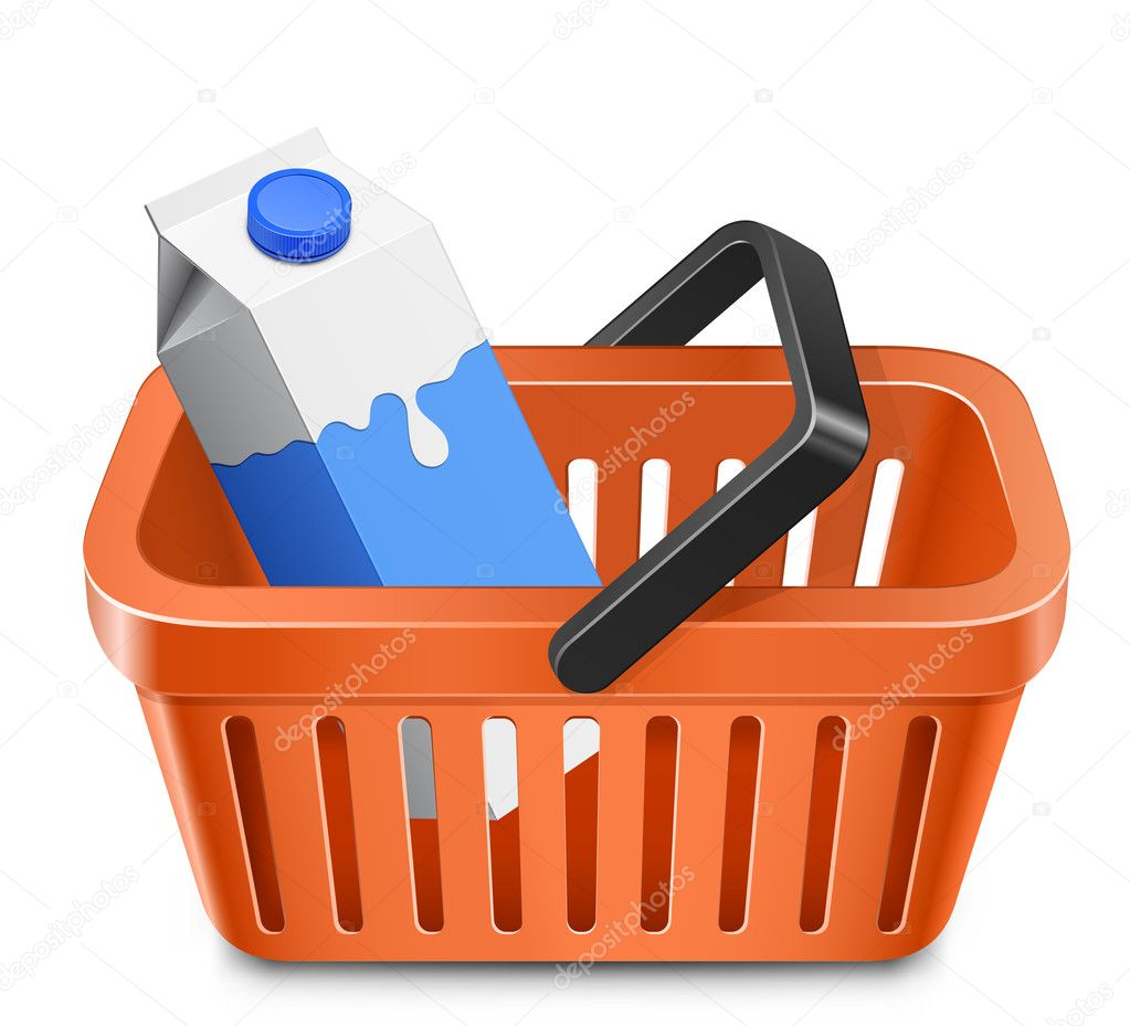 Shopping cart with a milk carton. Vector illustration — Grafika wektorowa #7929086