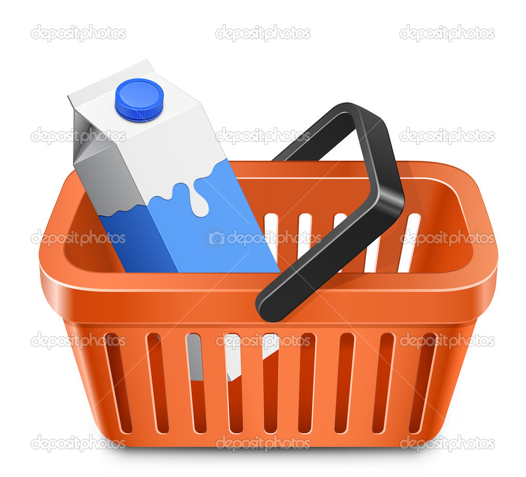 Shopping cart with a milk carton. Vector illustration  Vettoriali Stock  #7929086