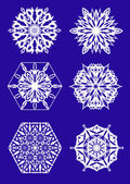 Christmas theme - set of 6 smart snowflakes — Stok Vektör