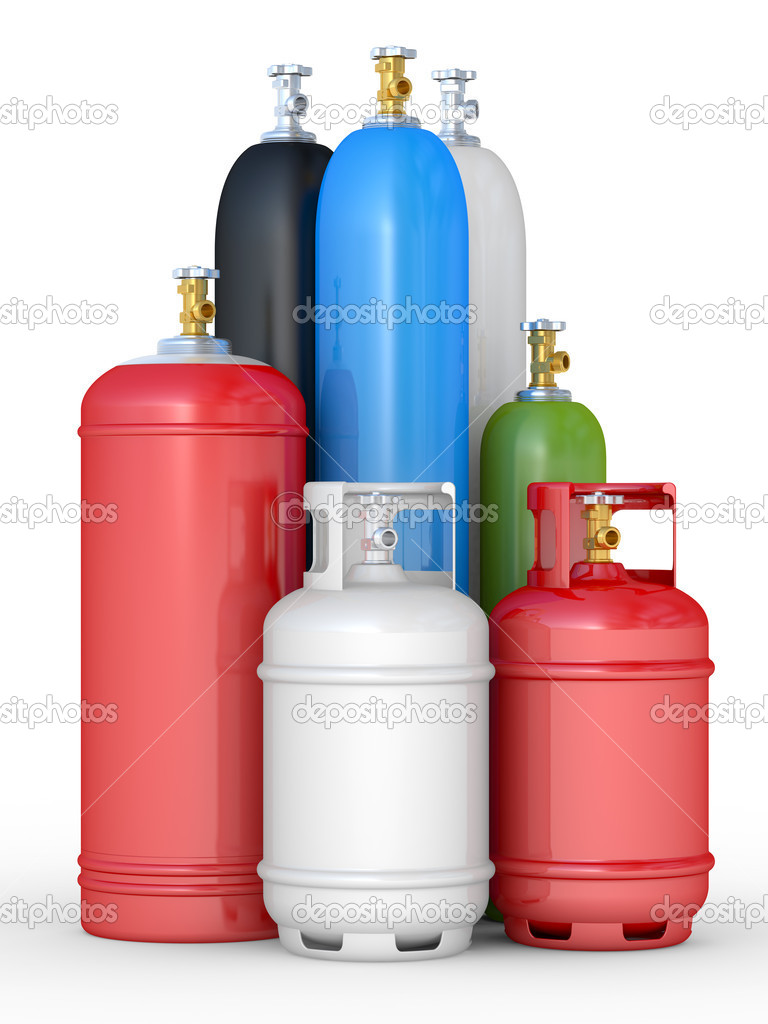 Cylinders with the compressed gases on a white background — Stock Photo #7173235