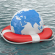 Life buoy on water — Stock Photo