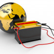 Abstract 3d illustration of earth globe with big battery — Stock Photo