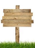 Dřevo symbol s trávou — Stock fotografie