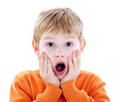 Cute kid with an expression of great surprise — Stock Photo