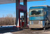 Truck at gas station — Stock Photo
