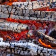 Closeup of a warm fire burning in a fireplace — Stock Photo #6753811