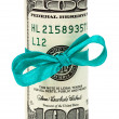 100 US dollar wrapped by ribbon isolated on white background — Stock Photo