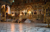 Interior of russian orthodox church — Stock Photo