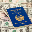 Afghan passport on US dollars background — Stock Photo