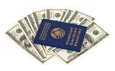 Wit-russische paspoort en honderd amerikaanse dollar rekeningen over wit — Stockfoto
