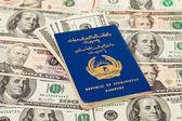 Afgański paszport na nas dolarów tło — Zdjęcie stockowe