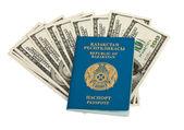 Kazachstán pas a peníze izolovaných na bílém pozadí — Stock fotografie