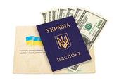 Oekraïense paspoort en geld geïsoleerd op witte achtergrond — Stockfoto