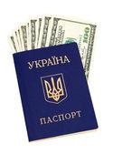 Ukrainian passport and US dollars over white — Stock Photo