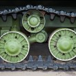 Caterpillars of the old soviet tank — Stock Photo