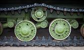 Caterpillars of the old soviet tank — Stock Photo