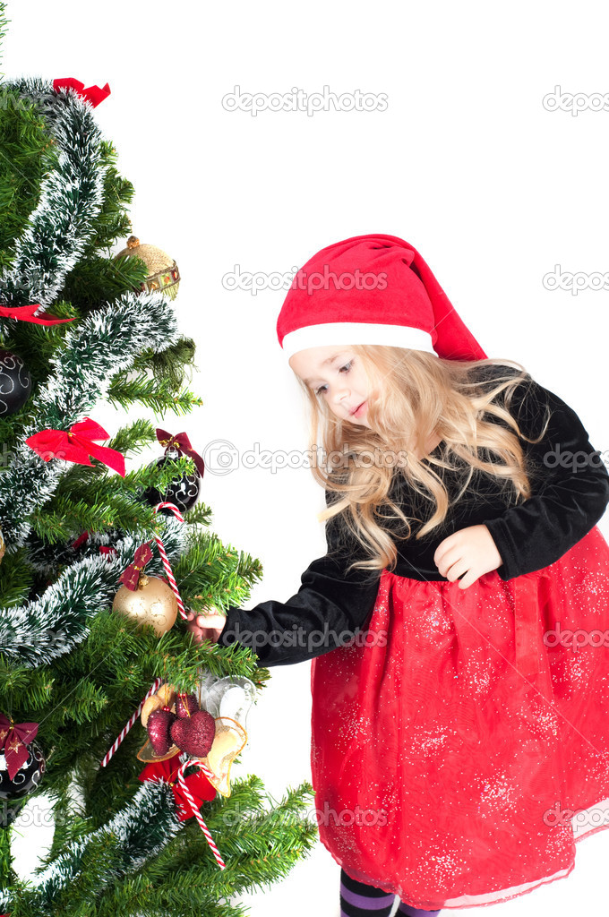 Beautiful baby girl dressed up for Christmas isolated in white — Stock Photo #6850733