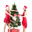 Happy women with Christmas presents — ストック写真