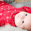 Little cute baby in red — Stock Photo