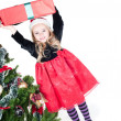 Stock Photo: Baby girl dressed up for Christams
