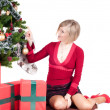 Stock Photo: Happy womwith Christmas presents