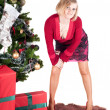 Happy womwith Christmas presents — Stock Photo #7222351
